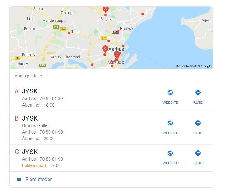hvor mange jysk butikker er der i danmark